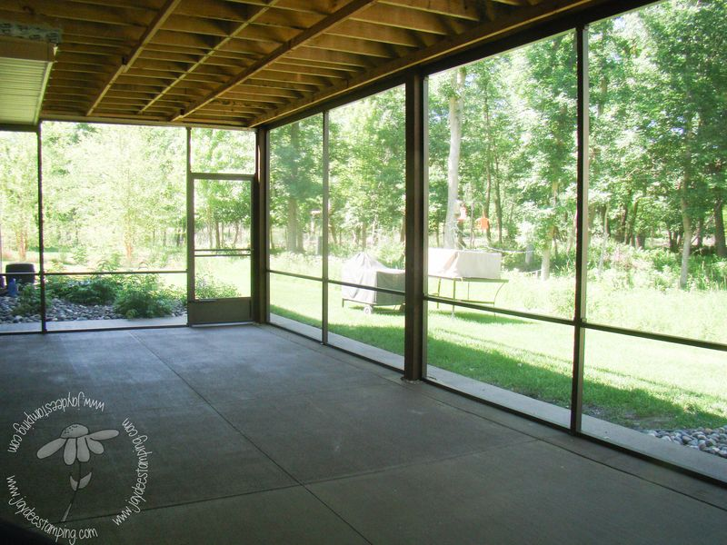Screened in porch facing empty